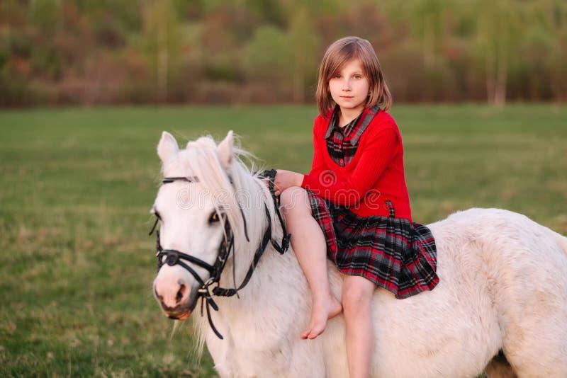 Flicka för ung dam i rött klänningsammanträde på en vit ponny royaltyfri fotografi
