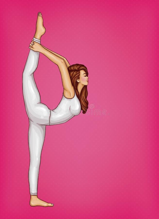 Flicka för vektorpopkonst som gör gymnastik eller yoga royaltyfri illustrationer
