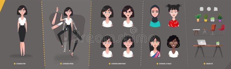 Flicka f?r kvinna f?r tecknad filmteckenaff?r f?r animering- och r?relsedesign vektor illustrationer