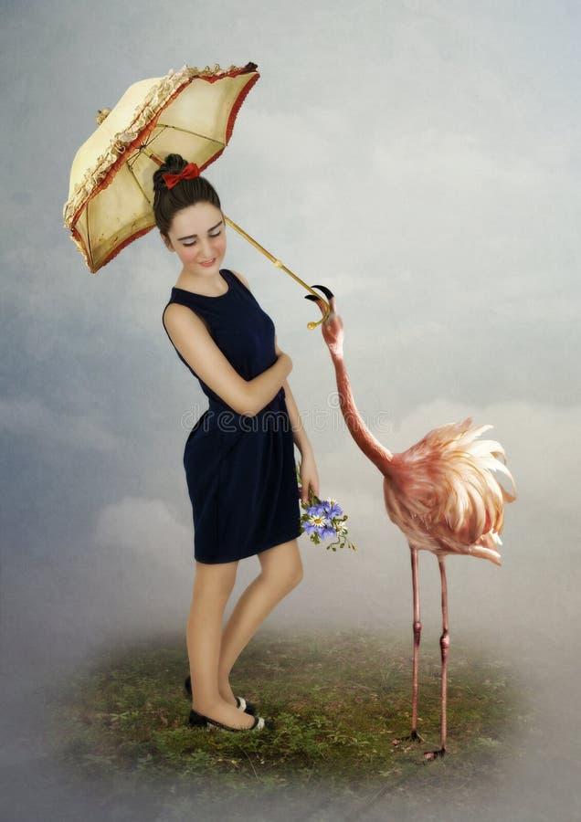 Flicka, flamingo och paraply arkivfoto
