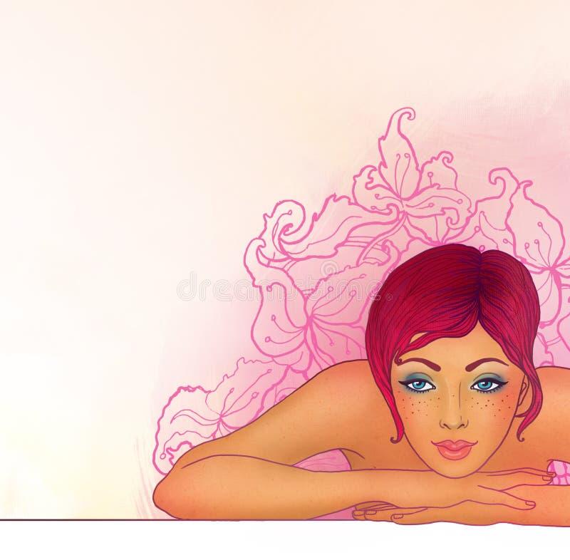 flicka henne periodsbrunnsort stock illustrationer