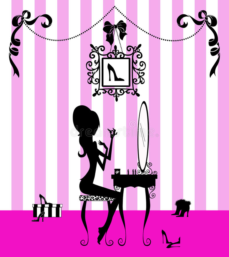flicka henne silhouettefåfänga stock illustrationer