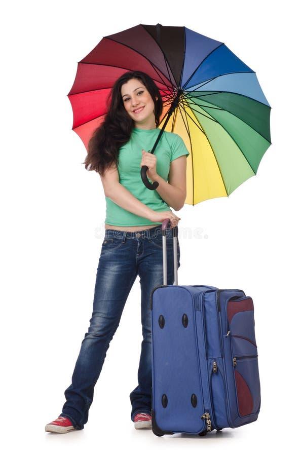 Flicka henne som förbereder semester