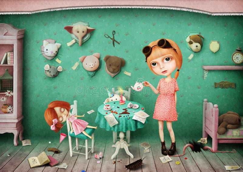 flicka henne vita lilla toys royaltyfri illustrationer