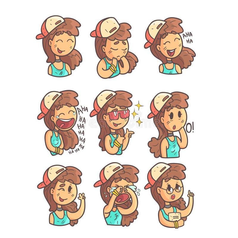 Flicka i bästa samling för lock, för tättsittande halsband och för blått av hand drog Emoji coolt skisserade stående stock illustrationer