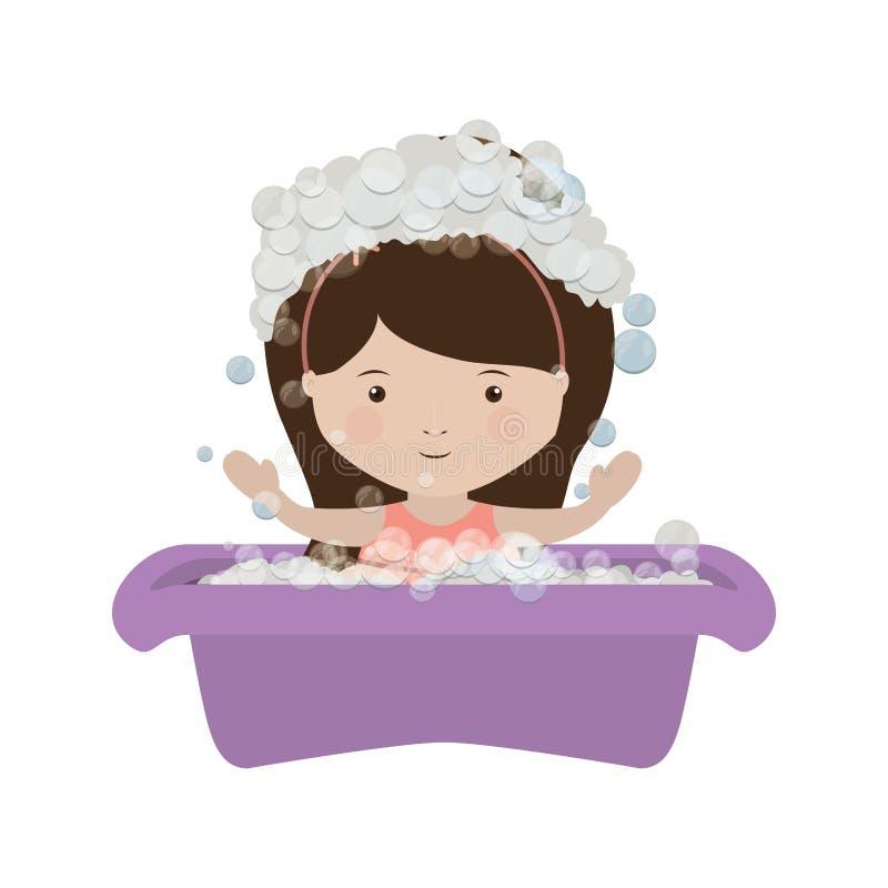 Flicka i babysbadkar med såpbubblan vektor illustrationer