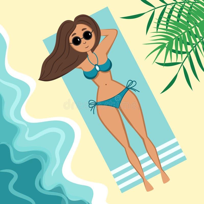 Flicka i baddräkt på stranden vektor illustrationer