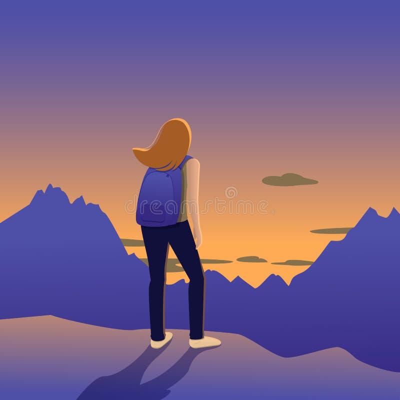 Flicka i bergen som håller ögonen på solnedgången stock illustrationer