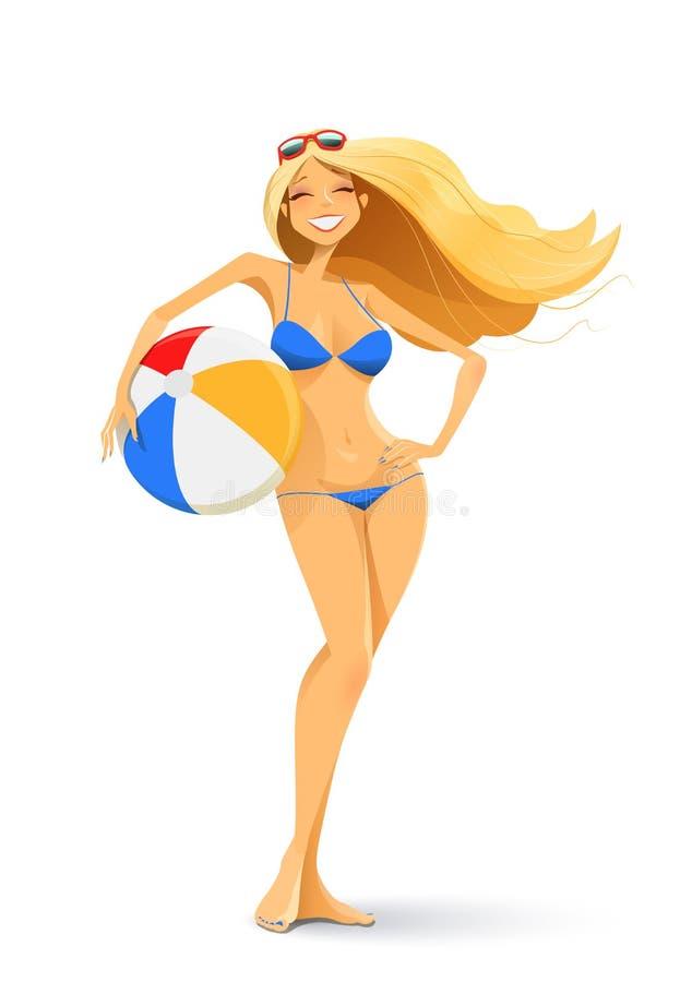 Flicka i bikini med bollen stock illustrationer