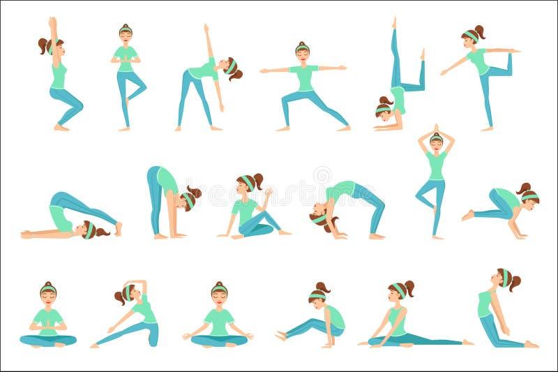 Flicka i blå utbildningskläder som visar yoga Asana stock illustrationer