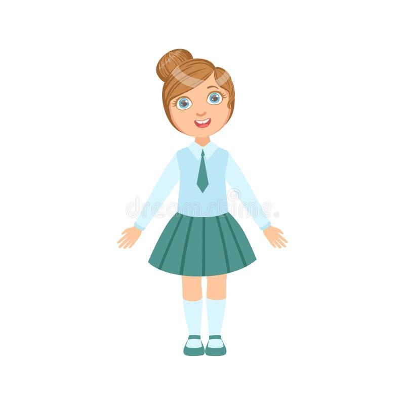 Flicka i blåttkjol och lyckligt skolbarn för band, i anseende och att le för skolalikformig tecknad filmteckenet royaltyfri illustrationer