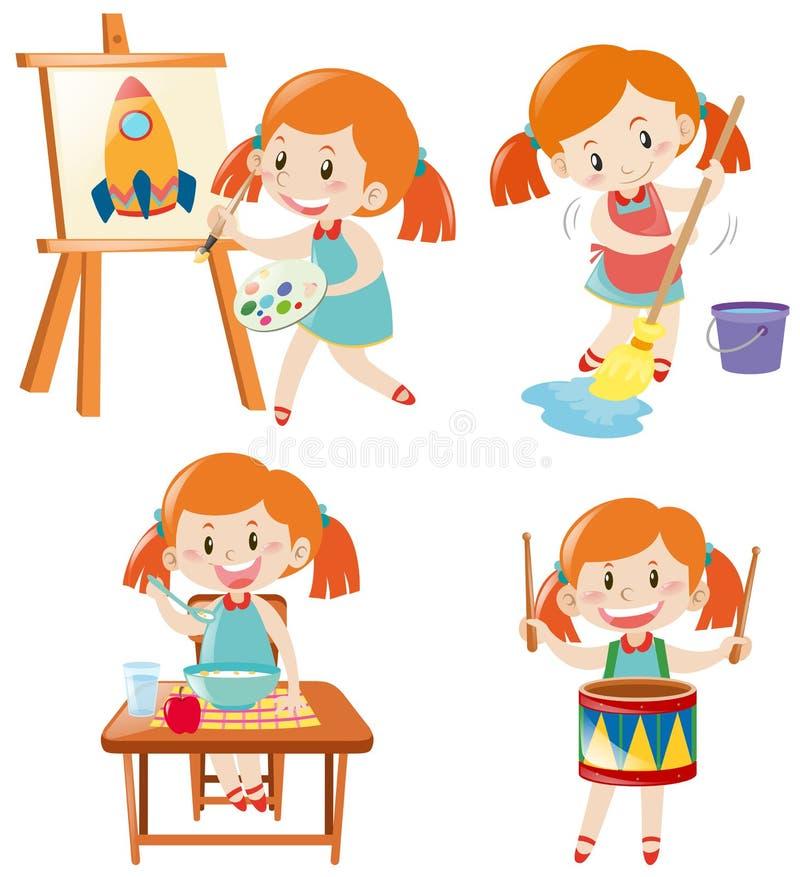 Flicka i blåttklänningen som gör olika aktiviteter vektor illustrationer