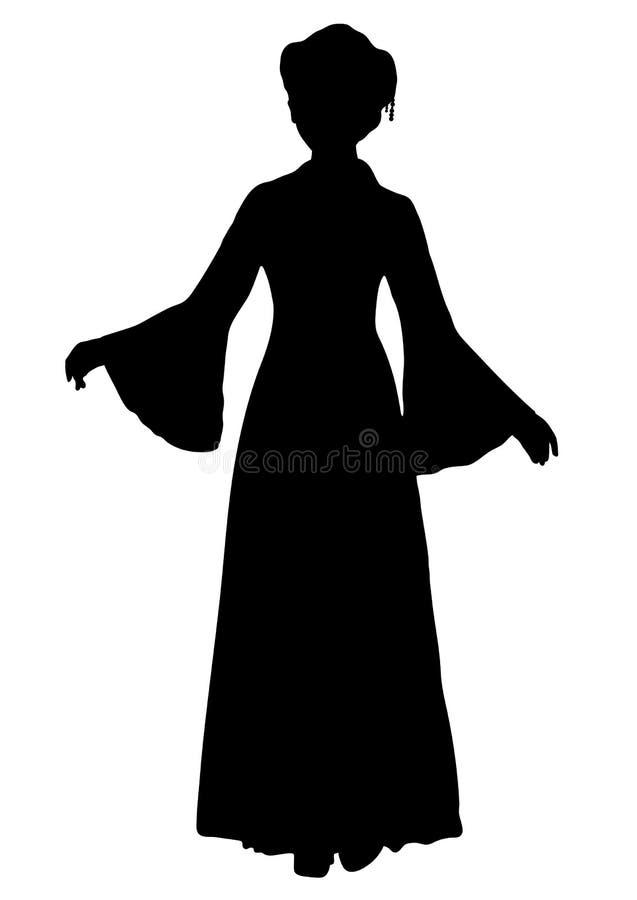 Flicka i den kinesiska nationella dräktkonturn, vektoröversiktsstående, svartvit konturteckning Hellång asiatisk kvinna in stock illustrationer