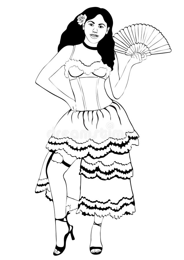 Flicka i den spanska nationella dräkten, vektoröversiktsstående, royaltyfri illustrationer