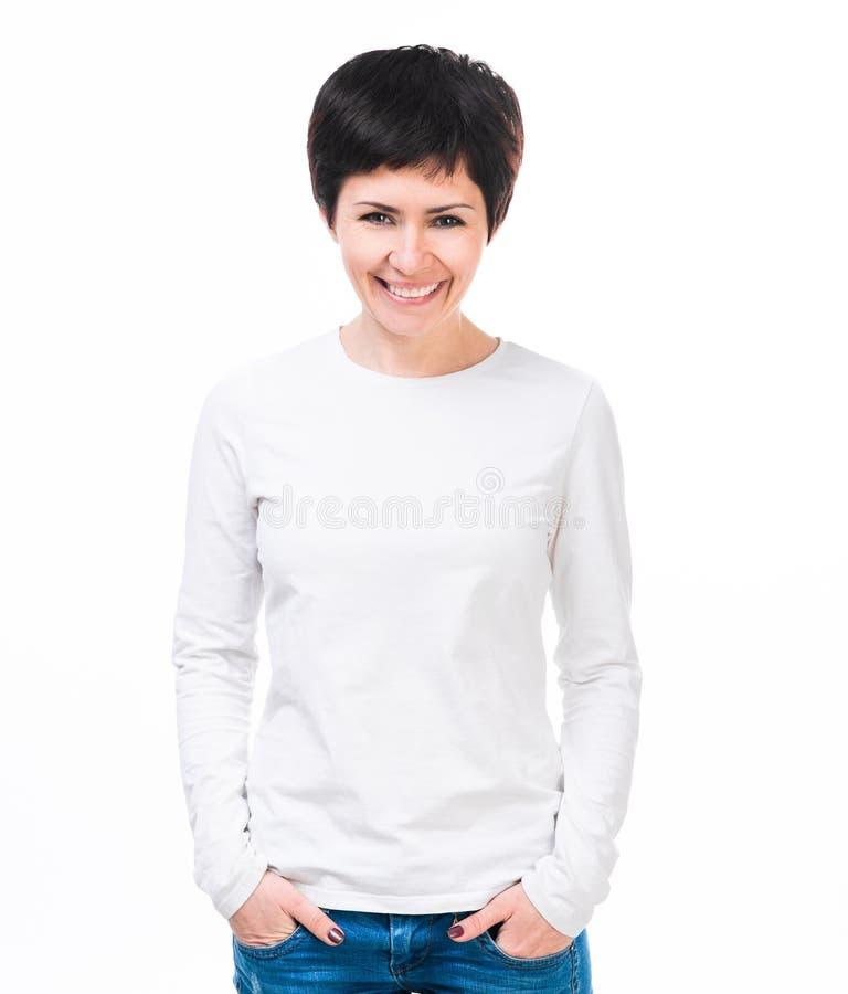 Flicka i den vita t-skjortan med den långa muffen royaltyfri bild