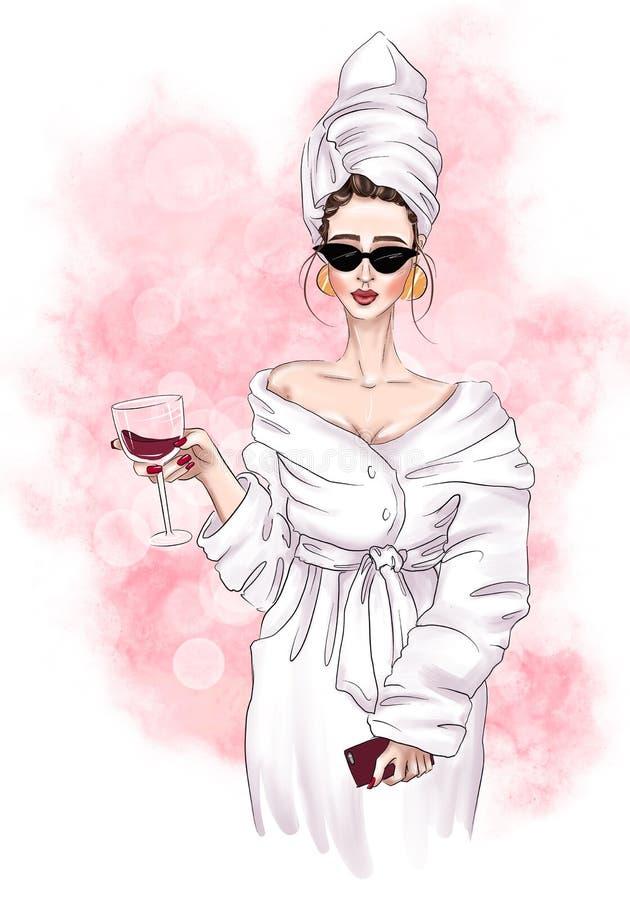 Flicka i en frottéhandduk och badrock som rymmer ett exponeringsglas av rött vin stock illustrationer