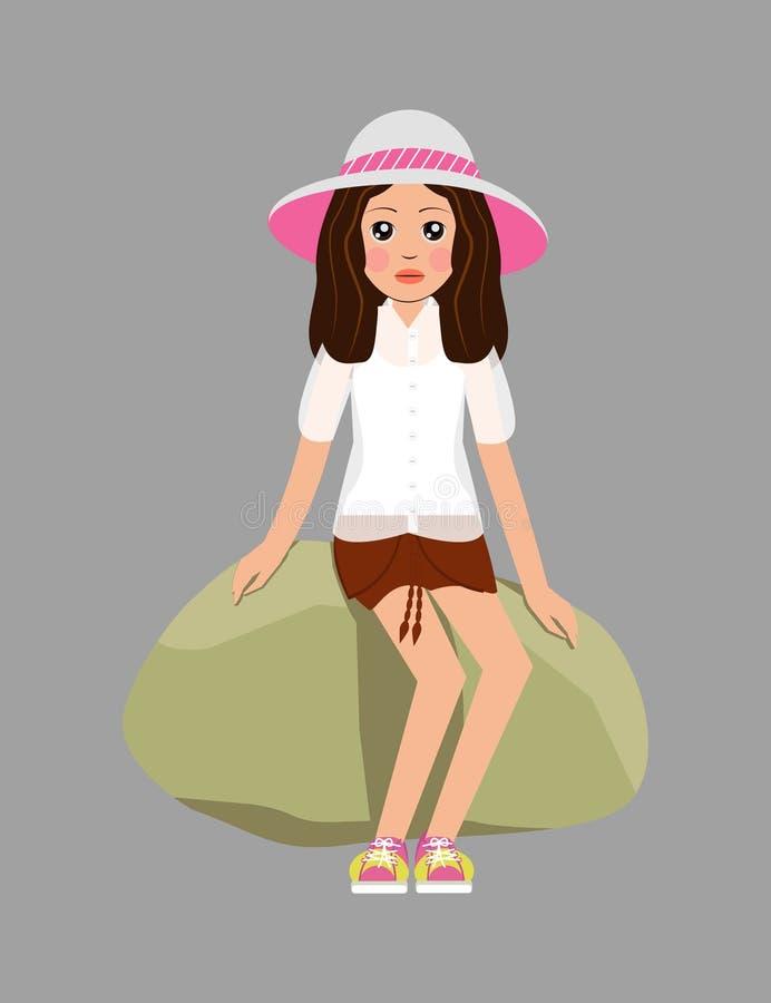 Flicka i en hatt, vit blus, orange kortslutningar, gult sitta för gymnastikskor vektor illustrationer