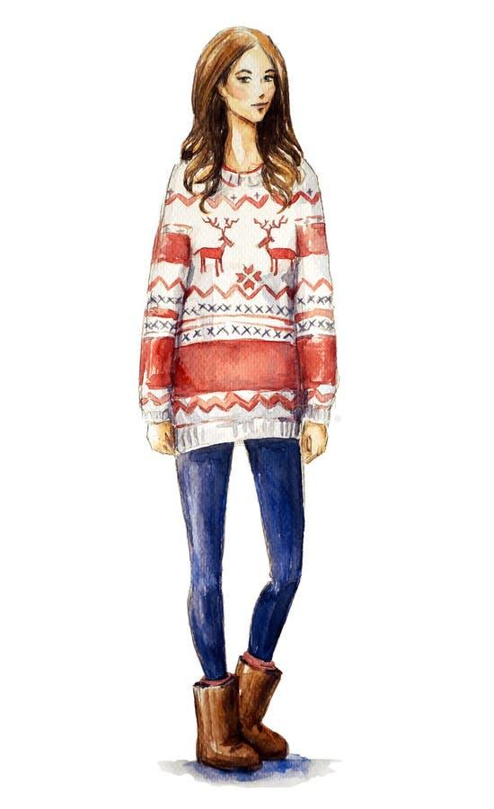 Flicka i en jultröja Julblick royaltyfri illustrationer