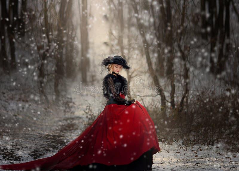 Flicka i en lång röd klänning som poserar i vinterskogen royaltyfria foton
