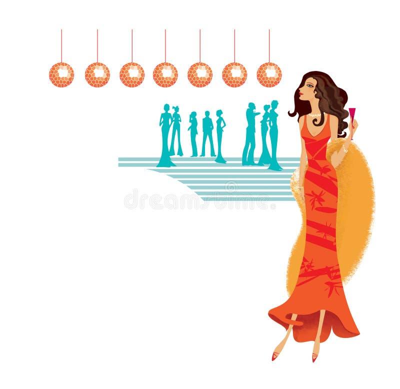 Flicka i en röd klänning och en päls- pälsudde med ett exponeringsglas av vin i hennes hand på ett aftonparti som omges av kontur stock illustrationer