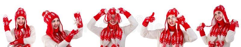 Flicka i en stack hatt, halsduk och tumvanten Rött med den vita modellen Härliga, varma, stack och virkade objekt collage arkivfoto