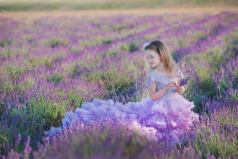 Flicka i en sugrörhatt i ett fält av lavendel med en korg av lavendel En flicka i ett lavendelfält Flicka med en bukett av lavend royaltyfri bild