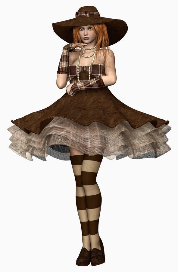 Flicka i en tappningklänning och hatt stock illustrationer