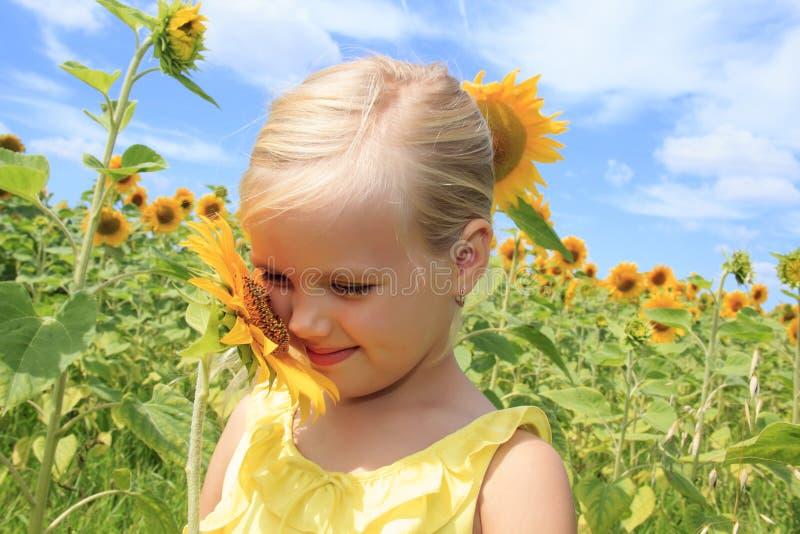 Flicka i ett fält av ljusa solrosor arkivfoton