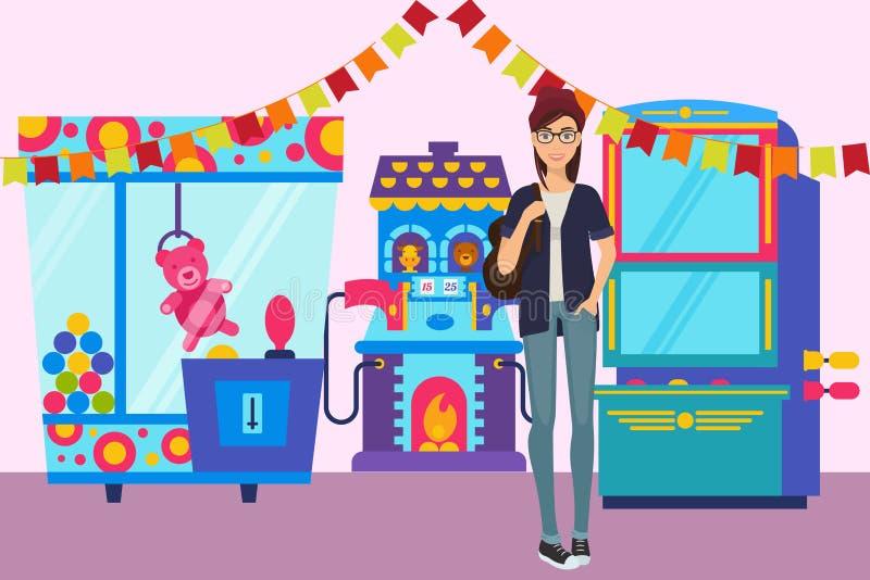 Flicka i för banervektor för modigt rum illustration Spela maskinen med leksaker för barn i nöjesfältet skytte royaltyfri illustrationer
