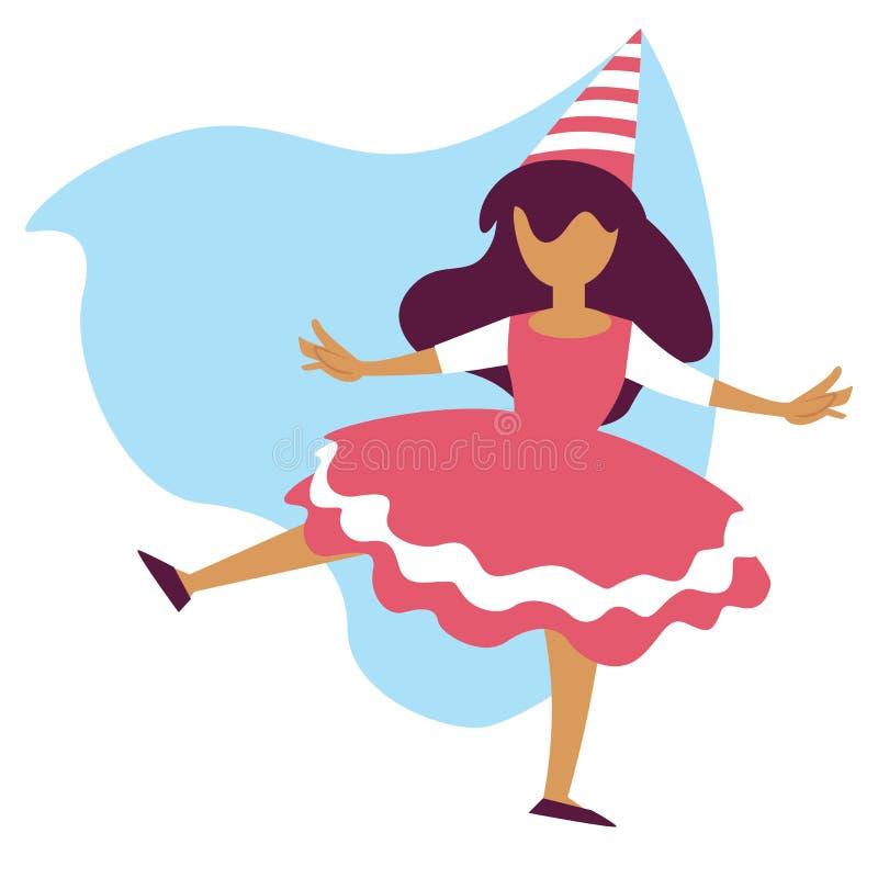 Flicka i felikt dräktfödelsedagparti eller barnslig ferie för karneval vektor illustrationer