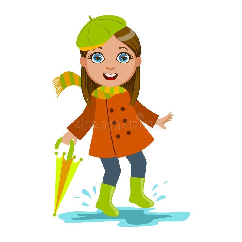 Flicka i grön basker med paraplyet, ungen i Autumn Clothes In Fall Season Enjoyingn regn och regnigt väder, färgstänk och vektor illustrationer