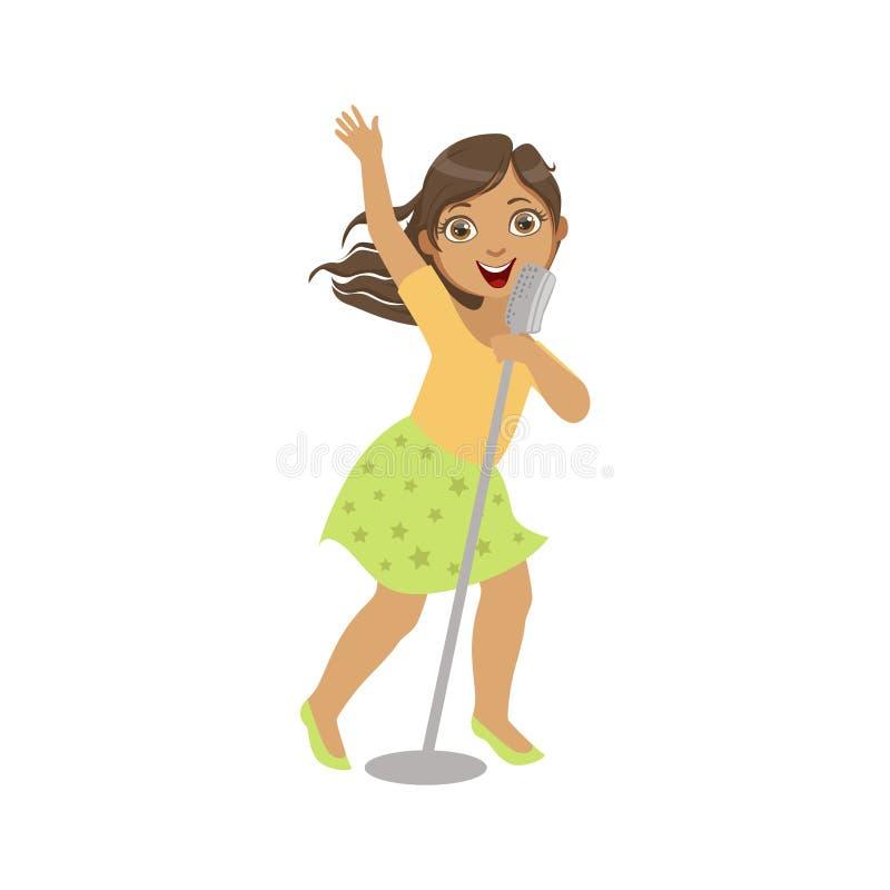 Flicka i grön kjol som sjunger i karaoke vektor illustrationer