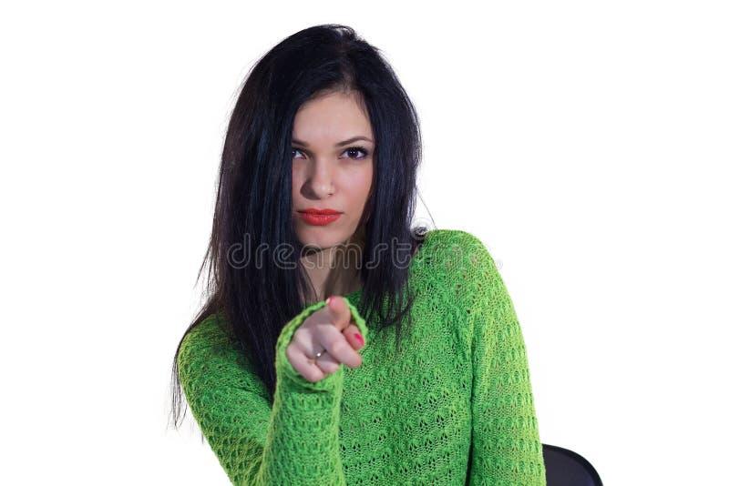 Flicka i grön tröja arkivbilder