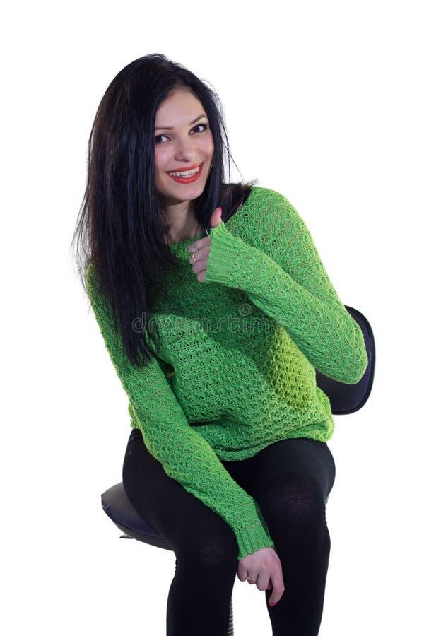 Flicka i grön tröja royaltyfri fotografi