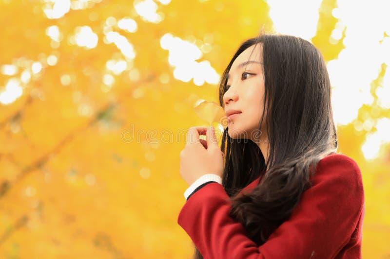 Flicka i guld- höstträdgård arkivfoton