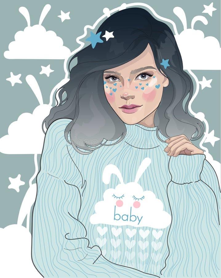 flicka i gullig pyjamas vektor illustrationer