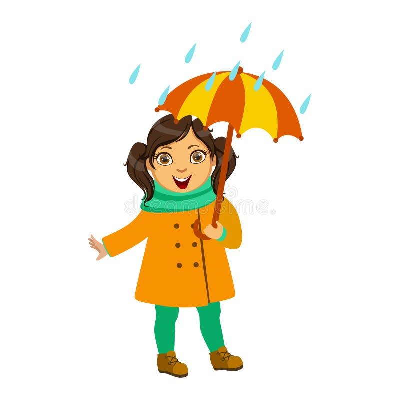 Flicka i gult lag och halsduk, unge i Autumn Clothes In Fall Season Enjoyingn regn och regnigt väder, färgstänk och vektor illustrationer