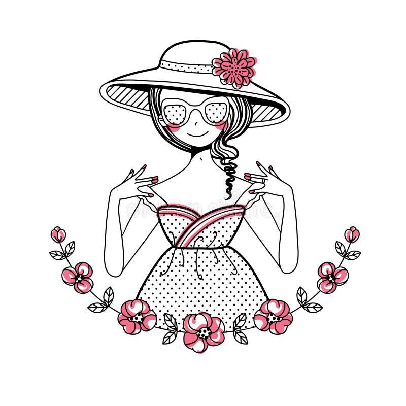 Flicka i hatten royaltyfri bild