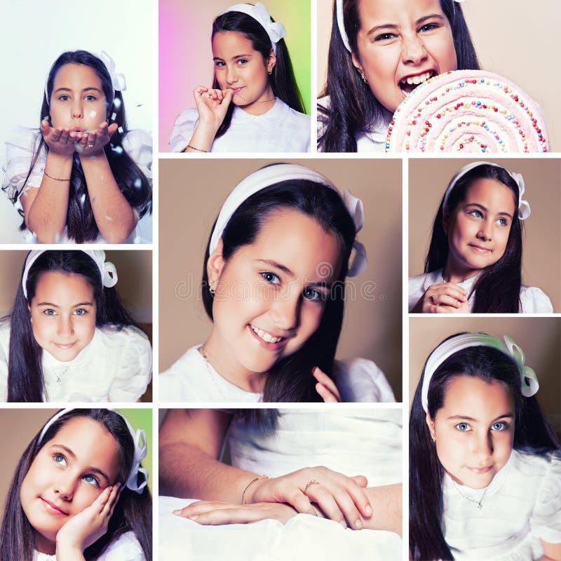 Flicka i henne första nattvardsgångdag royaltyfri fotografi