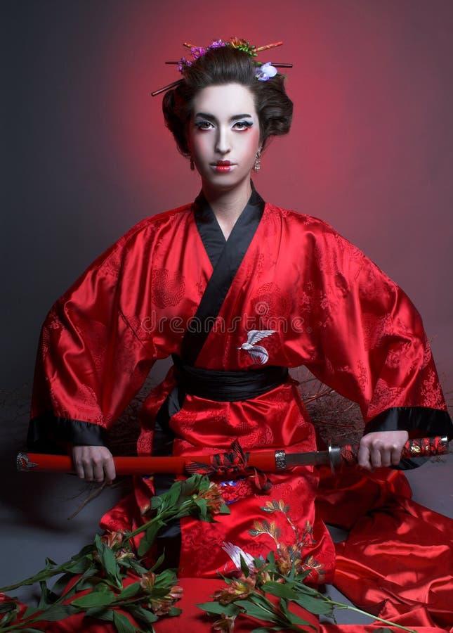 Flicka i japanisestil royaltyfria foton