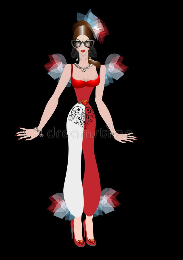 Flicka i karnevaldräkt vektor illustrationer