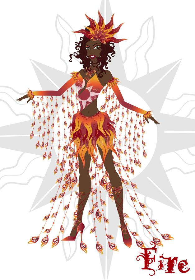 Flicka i karnevalklänningen som föreställer brandbeståndsdelen, artikulerad docka stock illustrationer