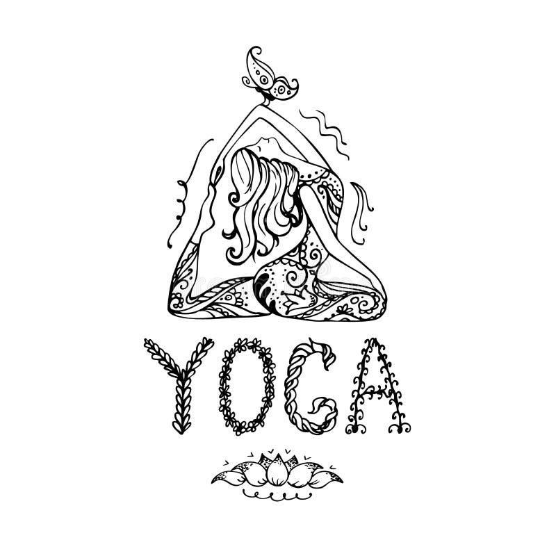 Flicka i Lotus Yoga Pose vektor illustrationer