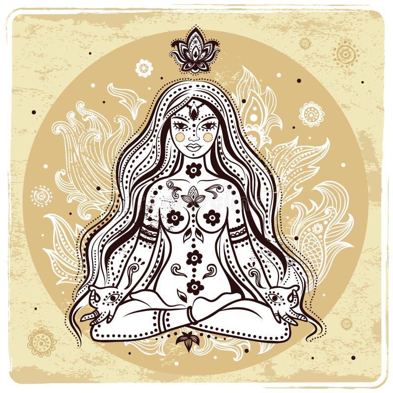 Flicka i meditation royaltyfri illustrationer