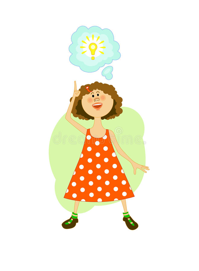 Flicka i orange klänning och ljus kula stock illustrationer