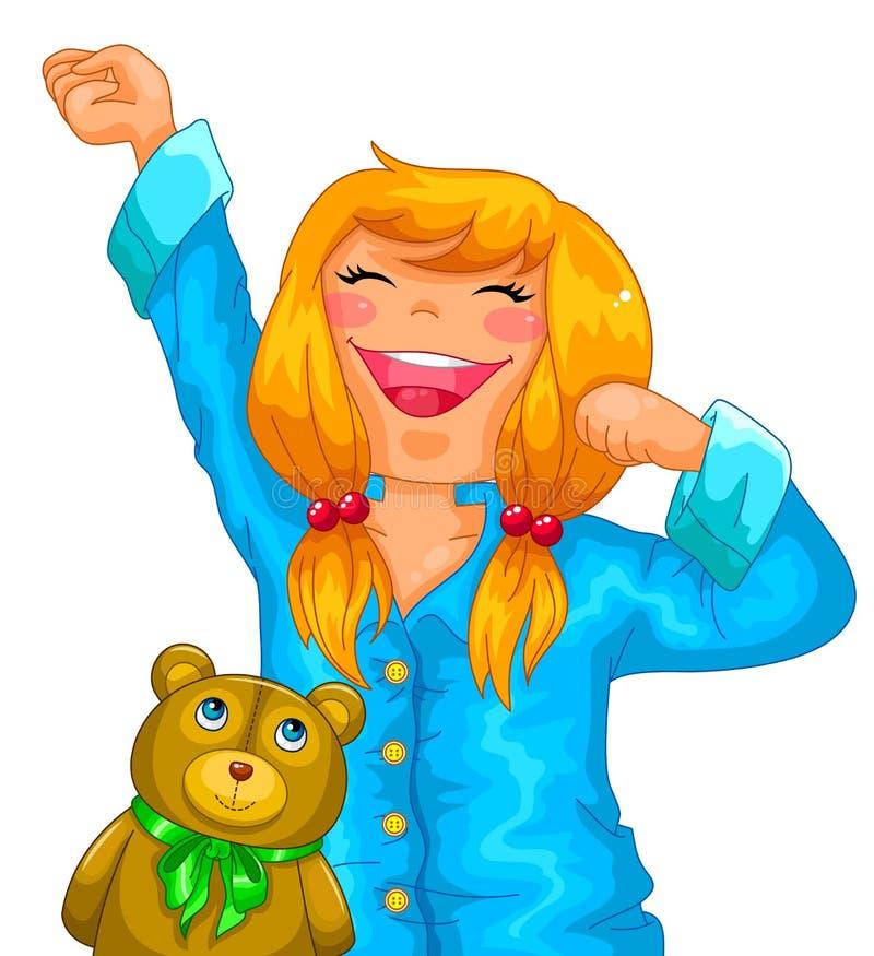 Flicka i pajamas stock illustrationer