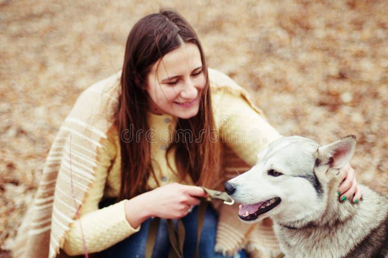 Flicka i parkera deras hem med en skrovlig hund Flickan med fotografering för bildbyråer