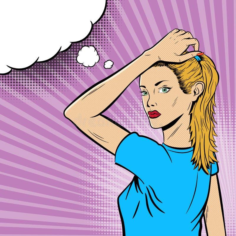 Flicka i popet Art Comic Style på purpurfärgad bakgrund stock illustrationer