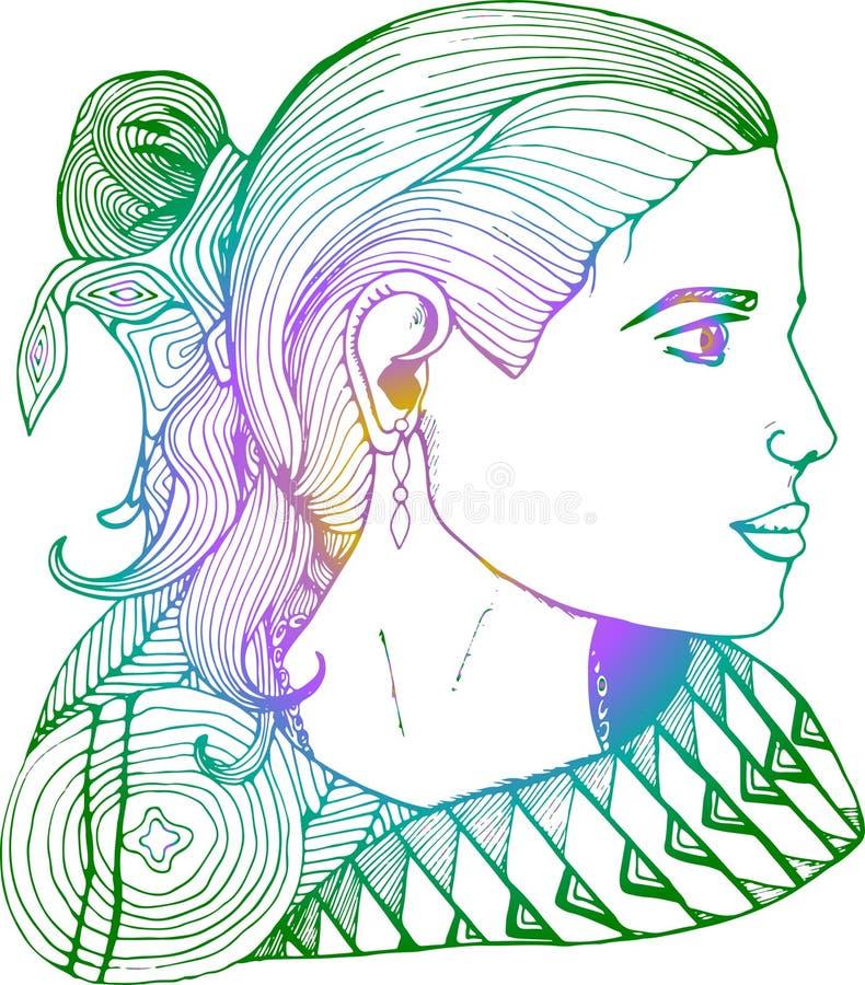Flicka i profil i indisk kl?der Lutningteckning arkivbild