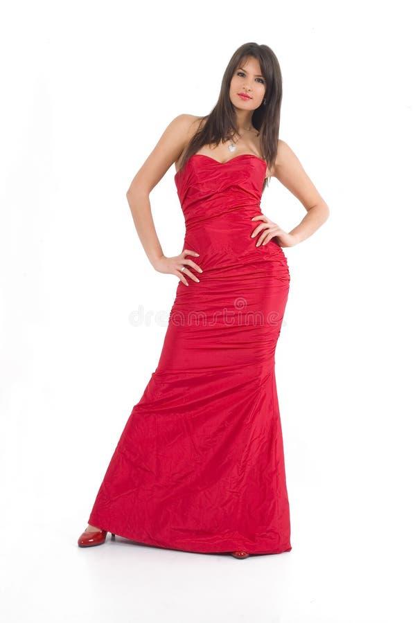 Flicka i rött arkivbilder